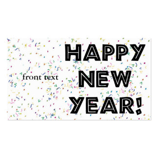 Happy New Year Black Text Double-Sided Standard Business Cards (Pack Of 100)