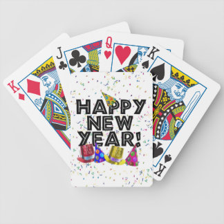 Happy New Year - Black Text with Party Hats Bicycle Playing Cards