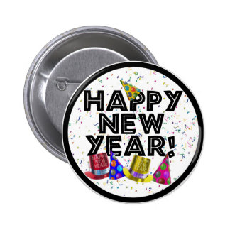 Happy New Year - Black Text with Party Hats Button