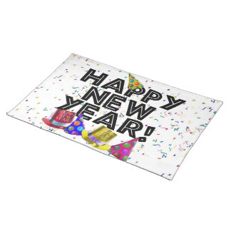Happy New Year - Black Text with Party Hats Cloth Place Mat