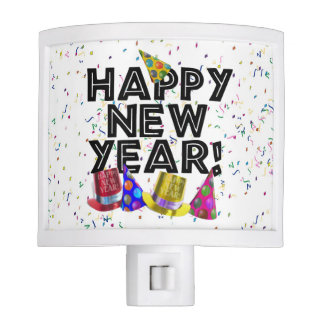 Happy New Year - Black Text with Party Hats Night Lights
