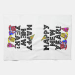 Happy New Year - Black Text with Party Hats Kitchen Towels