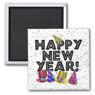 Happy New Year - Black Text with Party Hats 2 Inch Square Magnet