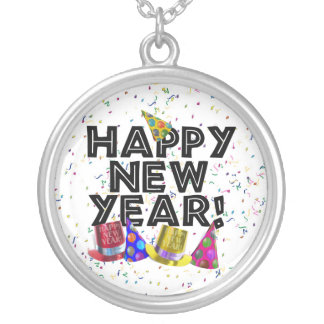 Happy New Year - Black Text with Party Hats Necklaces