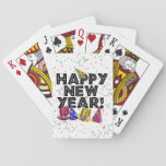 Happy New Year - Black Text with Party Hats Deck Of Cards