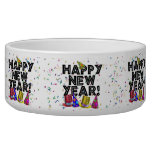 Happy New Year - Black Text with Party Hats Dog Food Bowl