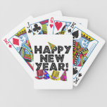 Happy New Year - Black Text with Party Hats Playing Cards
