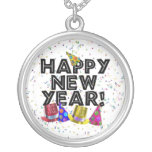 Happy New Year - Black Text with Party Hats Round Pendant Necklace