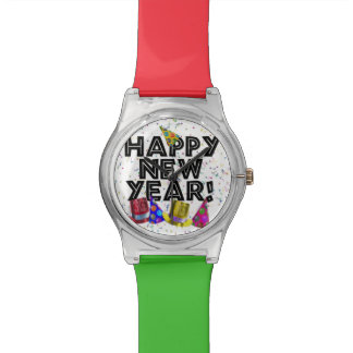 Happy New Year - Black Text with Party Hats Watch