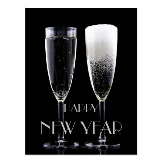 Happy New Year Black White Champagne Flute Glasses Postcard