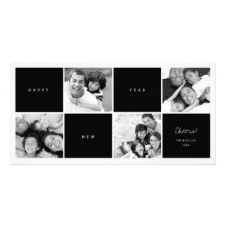 Happy New Year Blocks Photo Collage Holiday Card