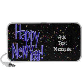 Happy New Year - Blue Text on Black Confetti Speaker