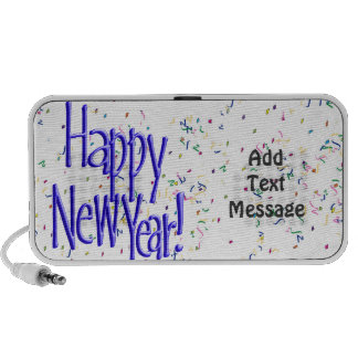 Happy New Year - Blue Text on White Confetti Travel Speaker