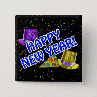 HAPPY NEW YEAR! Blue Text w/Party Hats Button
