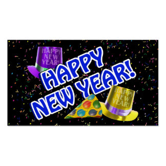 HAPPY NEW YEAR! Blue Text w/Party Hats Double-Sided Standard Business Cards (Pack Of 100)