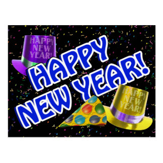 HAPPY NEW YEAR! Blue Text w/Party Hats Postcard
