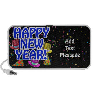 Happy New Year - Blue Text with Party Hats Mp3 Speaker