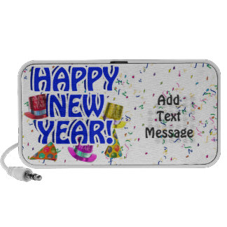 Happy New Year - Blue Text with Party Hats Notebook Speakers