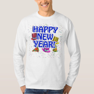 Happy New Year - Blue Text with Party Hats T-Shirt