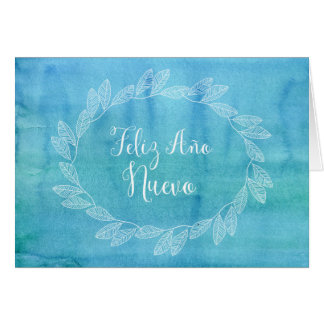 Happy New Year Blue Watercolor Wreath Spanish Card