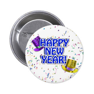 Happy New Year Blue & White Text Pinback Button