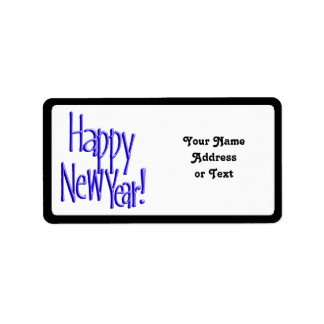 Happy New Year - BlueText Add Background Color Custom Address Label