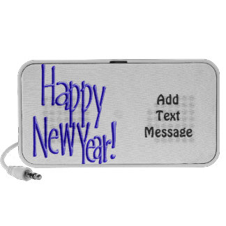 Happy New Year - BlueText (Add Background Color) Mini Speaker