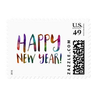 happy new year bokeh postage
