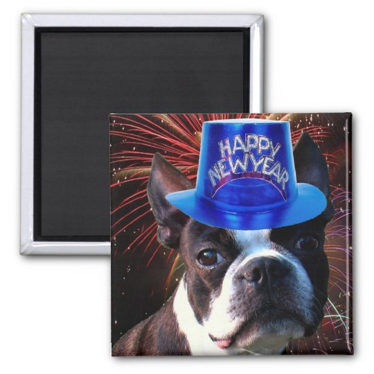 Happy New Year Boston terrier magnet