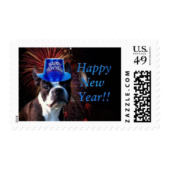 Happy New Year Boston terrier postage