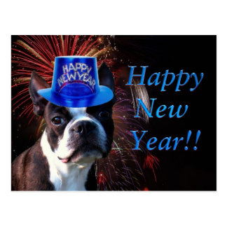 Happy New Year Boston terrier postcard