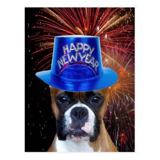 Happy New Year Boxer dog postcard