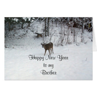 Happy New Year Brother- Deer Card