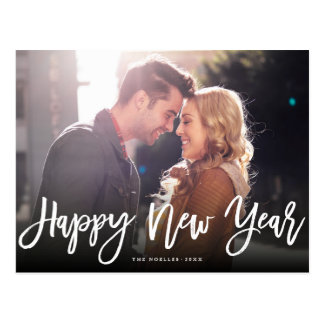 Happy New Year Brush Script Holiday Photo Postcard