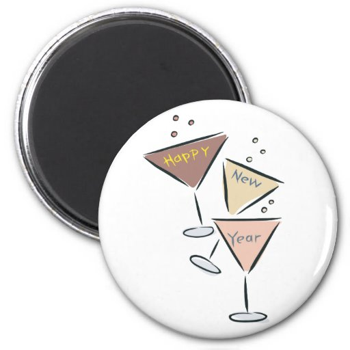 Happy New Year Bubbly 2 Inch Round Magnet