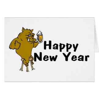 Happy New Year Bull And Beer Greeting Card