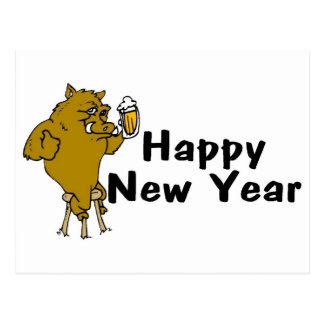 Happy New Year Bull And Beer Postcard