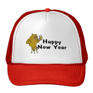 Happy New Year Bull And Beer Trucker Hat