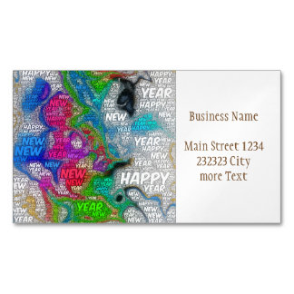happy new year business card magnet