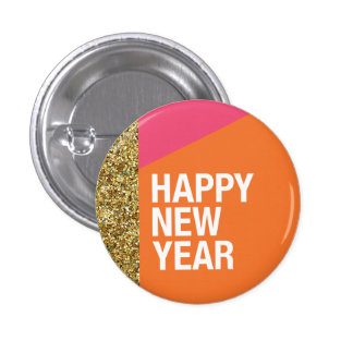 Happy New Year Button, Party Favor, Pin