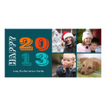 Happy new year by year 4 family photo grid navy photo card