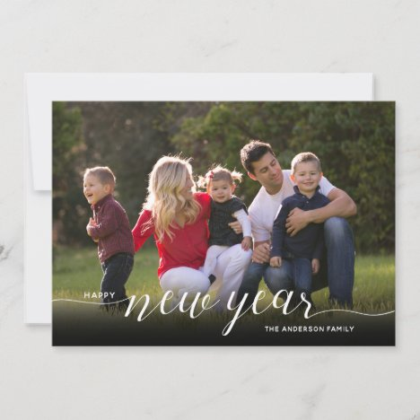 Happy New Year Calligraphy | 2 Photo Holiday Card