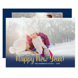 Happy New Year Calligraphy | 2 Photos Card