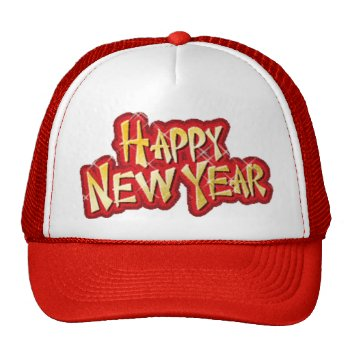 Happy New Year Cap Trucker Hat by creativeconceptss at Zazzle