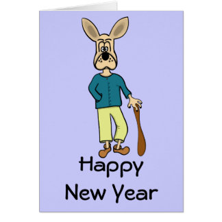 "Happy New Year  card ""funny dog"" cartoon"