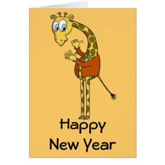 "Happy New Year  card ""funny giraffe"" cartoon"