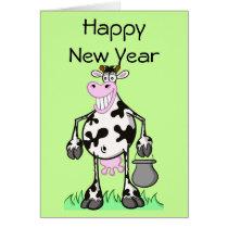 "Happy new year cards ""cartoon"" cow"