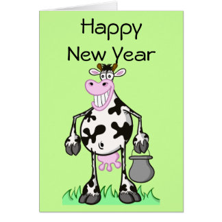 "Happy new year cards ""cartoon"" cow"