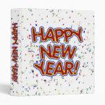 Happy New Year Cartoon Text w/Confetti Vinyl Binder