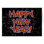 Happy New Year Cartoon Text w/Confetti Greeting Card